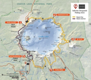 Crater Lake Ride the Rim Route Map
